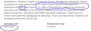 Another entry-level job, requiring a decade of experience…