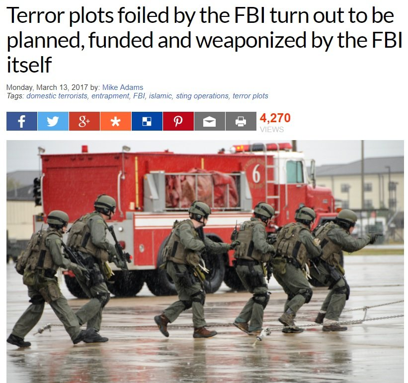 Terror plots foiled by the FBI turn out to be planned, funded and weaponized by the FBI itself